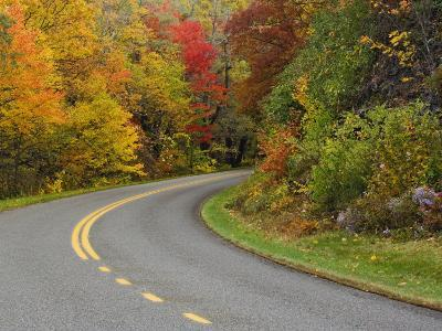 Blue Ridge Parkway Winding Through Autumn Colors, Pisgah National Forest, North Carolina, USA-Adam Jones-Photographic Print