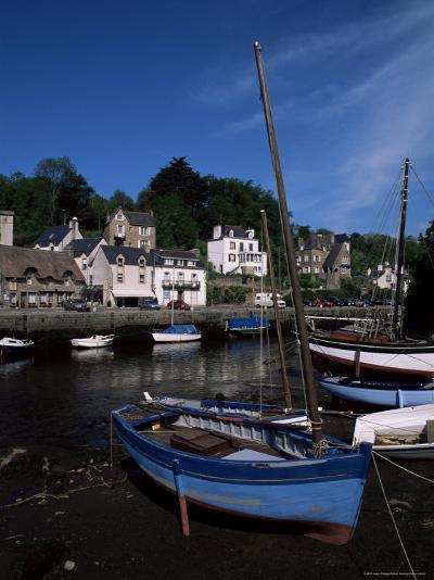Blue Sailing Dinghy and River Aven, Pont-Aven, Brittany, France-Julian Pottage-Photographic Print