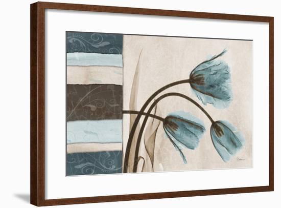 Blue Scroll Tulip-Albert Koetsier-Framed Premium Giclee Print