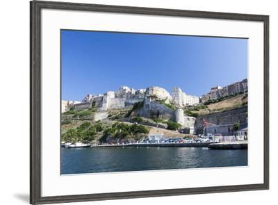 Blue sea frames the medieval old town and fortress, Bonifacio, Corsica, France, Mediterranean, Euro-Roberto Moiola-Framed Photographic Print
