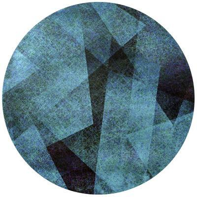 Blue Shade - Circular Silver Canvas Giclee Printed on 2 - Wood Stretcher Wall Art