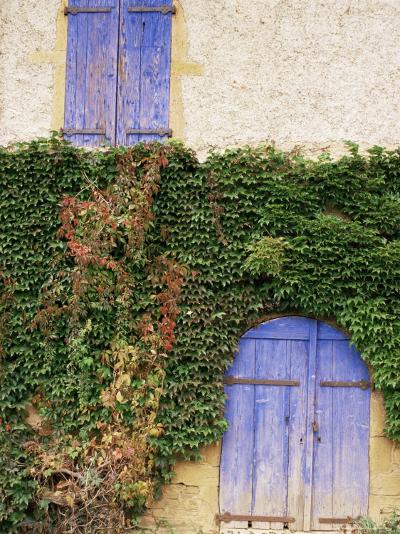 Blue Shutters on a House, Rhone Alpes, France-Michael Busselle-Photographic Print