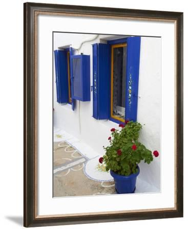 Blue Shutters, Plaka, Old Village, Milos, Cyclades Islands, Greek Islands, Greece, Europe-Tuul-Framed Photographic Print
