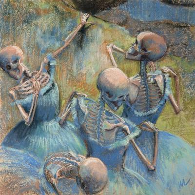 Blue Skelly Dancers-Marie Marfia Fine Art-Giclee Print