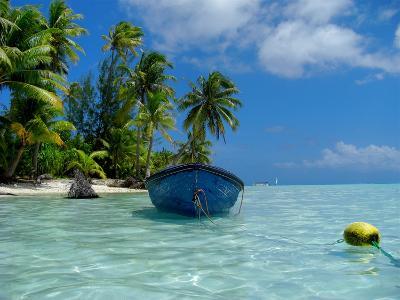 Blue Skiff Bora Bora Lagoon-Lawrence Da Luz Photography-Photographic Print