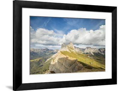 Blue sky and clouds on the rocky peaks of the Odle mountain range seen from Seceda, Val Gardena, Tr-Roberto Moiola-Framed Photographic Print