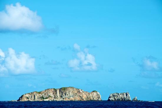 Blue Sky with Puffy Clouds over Rock Formations Off the Coast of the British Virgin Islands-Heather Perry-Photographic Print