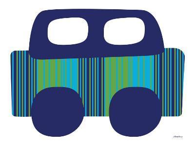 Blue Stripe Car-Avalisa-Art Print