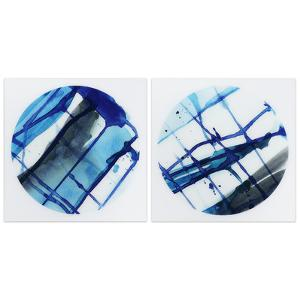 """Blue Stripes 1&2"" Frameless Free Floating Tempered Glass Panel Graphic Wall Art"