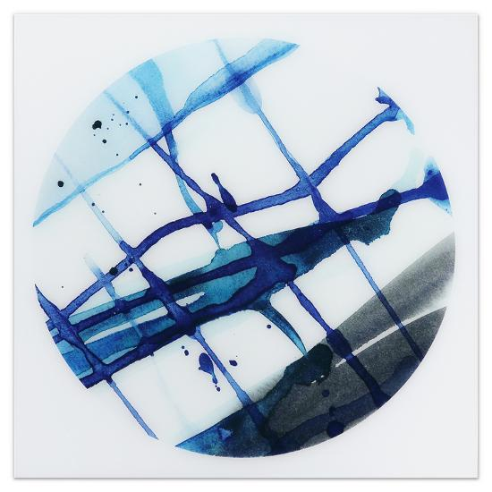 Blue Stripes 2 - Free Floating Tempered Glass Panel Graphic Wall Art--Alternative Wall Decor