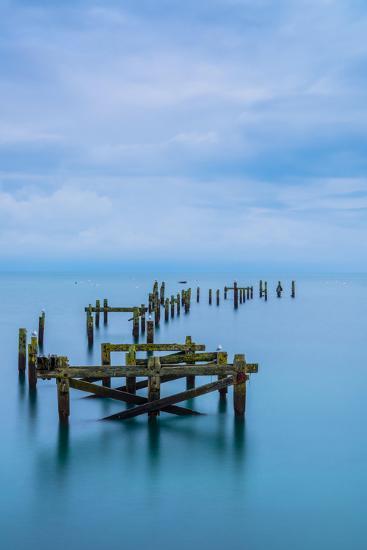 Blue Swanage Pier-Robert Maynard-Photographic Print