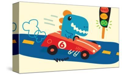 Blue T-Rex in Red Racecar