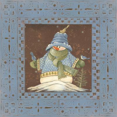 Blue Tin Snowman II-Jo Moulton-Art Print