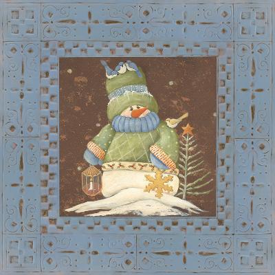 Blue Tin Snowman-Jo Moulton-Art Print