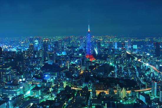 Blue Tokyo Night-Copyright Artem Vorobiev-Photographic Print