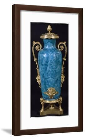 Blue Turquoise Vase with Floral Patterns and Gilt Bronze Frame, China, Qing Dynasty--Framed Giclee Print