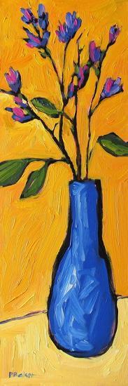 Blue Vase On Yellow-Patty Baker-Art Print