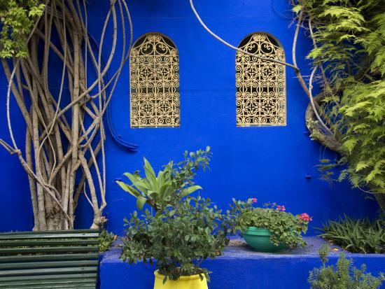 Blue Wall and Window Detail at Jardin Majorelle-Christopher Groenhout-Photographic Print