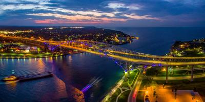 Blue Water Bridge at dusk, Port Huron, Michigan, USA
