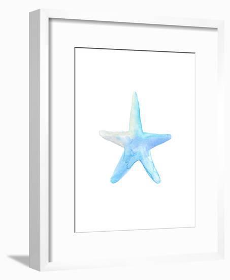 Blue Watercolor Starfish-Jetty Printables-Framed Art Print