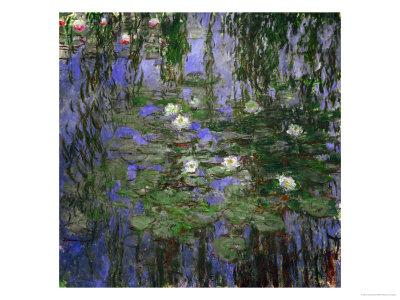 """60/""""x26/"""" WATER LILIES MORNING by CLAUDE MONET PURPLE BLUE WATER Repro CANVAS"""