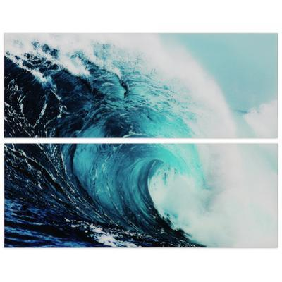 """Blue Wave 1&2"" Frameless Free Floating Tempered Glass Panel Graphic Wall Art"