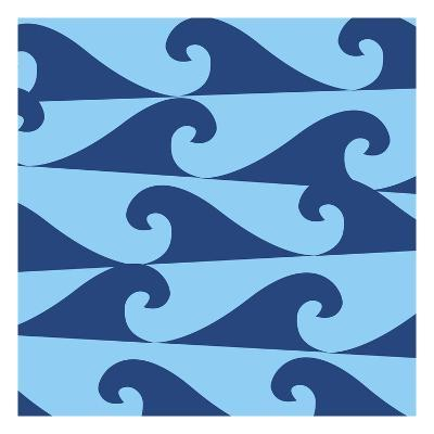Blue Waves on Blue Pattern--Giclee Print