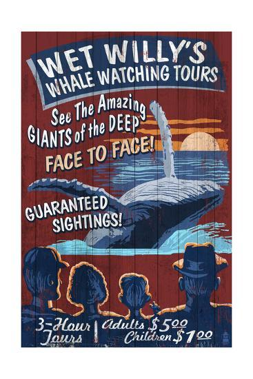 Blue Whale Watching - Vintage Sign-Lantern Press-Art Print
