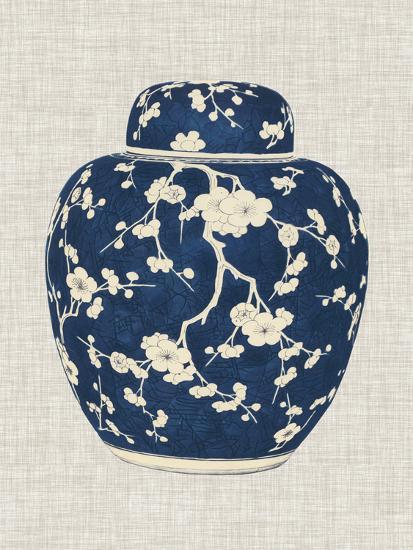 Blue White Ginger Jar On Linen Ii Art Print By Vision Studio
