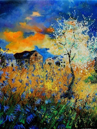 Blue wild flowers and blooming tree-Pol Ledent-Art Print