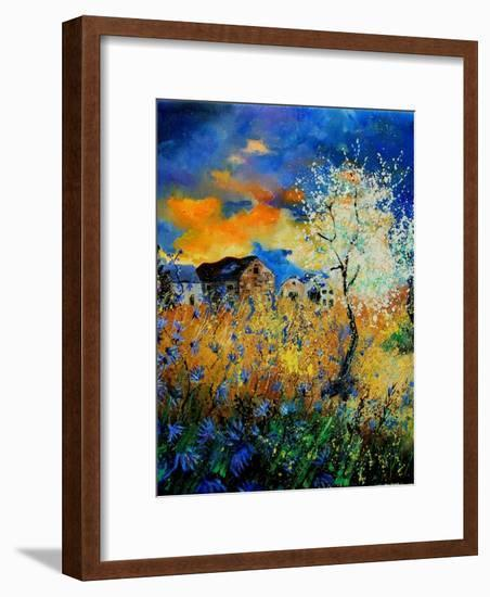 Blue wild flowers and blooming tree-Pol Ledent-Framed Art Print