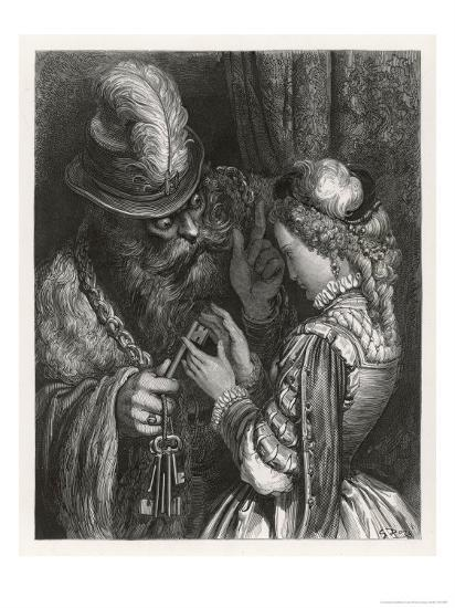 Bluebeard Warns Her About the Key to the Room She is Forbidden to Enter--Giclee Print