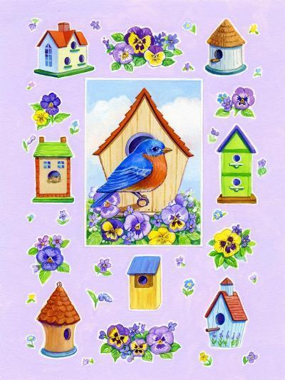 Bluebird and Pansies-Geraldine Aikman-Giclee Print