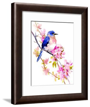 Bluebird And Spring Blossom 2-Suren Nersisyan-Framed Art Print