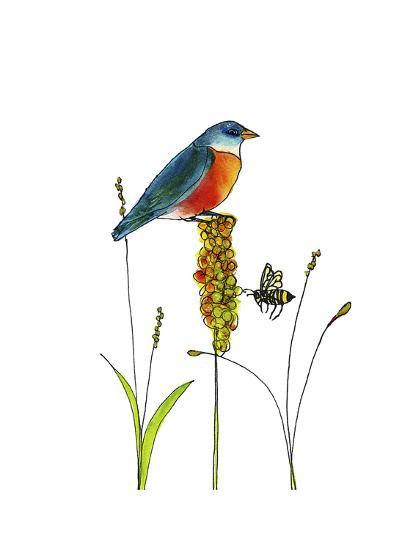 Bluebird on Seeds-Blenda Tyvoll-Giclee Print