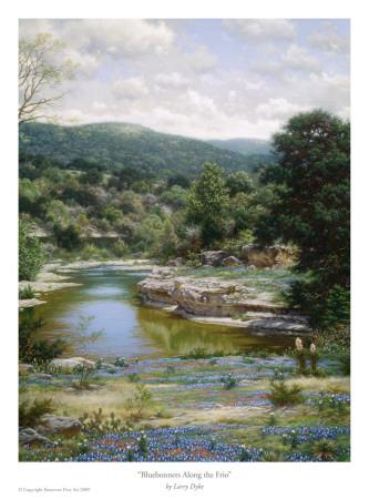 Bluebonnets Along The Frio-Larry Dyke-Framed Art Print