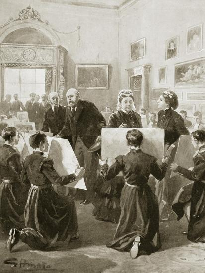 Bluecoat schoolboys showing their drawings to Queen Victoria, 3 April 1873 (1901)-Unknown-Giclee Print