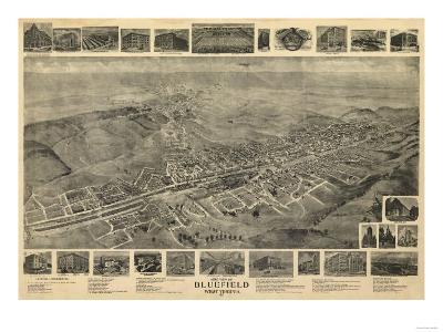 Bluefield, West Virginia - Panoramic Map-Lantern Press-Art Print