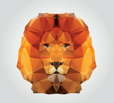 Geometric Polygon Lion Head, Triangle Pattern, Vector Illustration by BlueLela