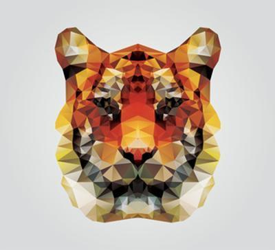 Geometric Polygon Tiger Head, Triangle Pattern Design, Vector Illustration by BlueLela