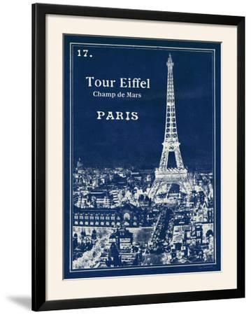 Blueprint Eiffel Tower-Sue Schlabach-Framed Photographic Print