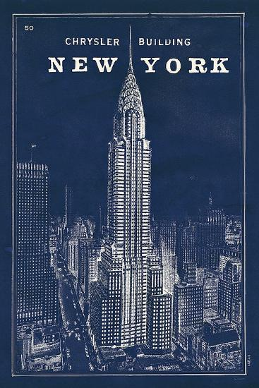 Blueprint Map New York Chrysler Building-Sue Schlabach-Art Print