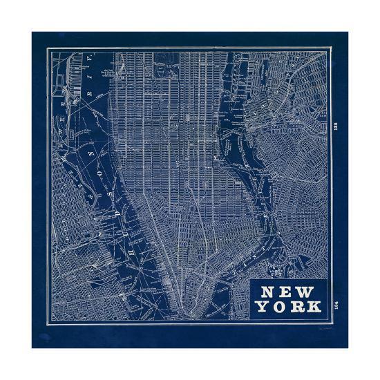 Blueprint Map New York Square-Sue Schlabach-Premium Giclee Print
