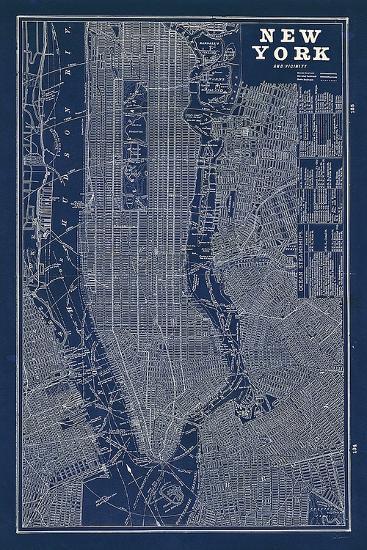 Blueprint Map New York-Sue Schlabach-Art Print
