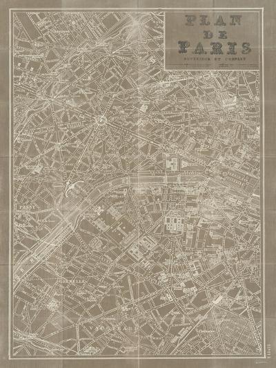 Blueprint Map Paris Taupe-Sue Schlabach-Premium Giclee Print