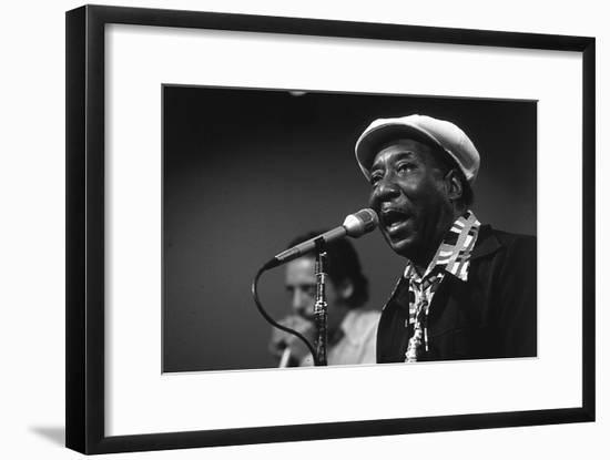Bluesman Muddy Waters (1915-1983) on Stage in 1982--Framed Photo