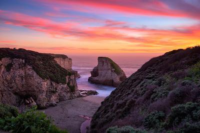 Bluff Sunset View at Shark Fin Cove, California Coast, Santa Cruz, Davenport-Vincent James-Photographic Print