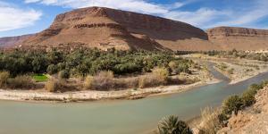 Bluffs and ruined Kasbahs along the River Ziz, Errachidia Province, Meknes-Tafilalet, Morocco