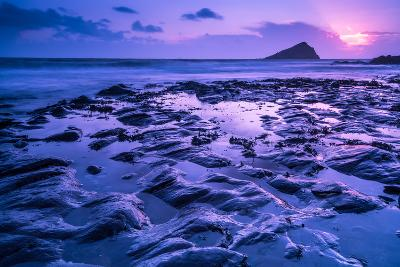 Blur Water Effect Ocean at Sunset, Pink and Blue-Marcin Jucha-Photographic Print