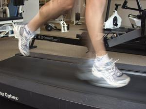 Blurred Image of Legs on a Treadmill